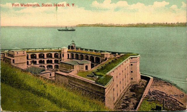 Fort Wadsworth, Staten Island, NY (aerial view of fort and bay from hill). Staten Island Postcards Fort Wadsworth, Staten Island (New York, NY)